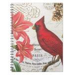 cardenal del invierno del vintage libros de apuntes con espiral