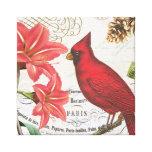 cardenal del invierno del vintage impresion de lienzo