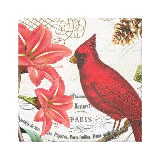 cardenal del invierno del vintage lona estirada galerías