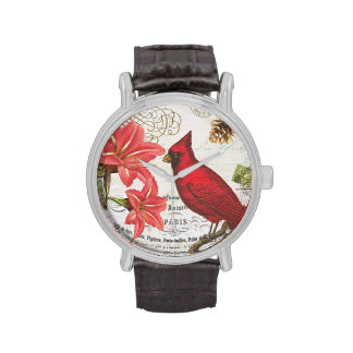 cardenal del invierno del vintage relojes de pulsera