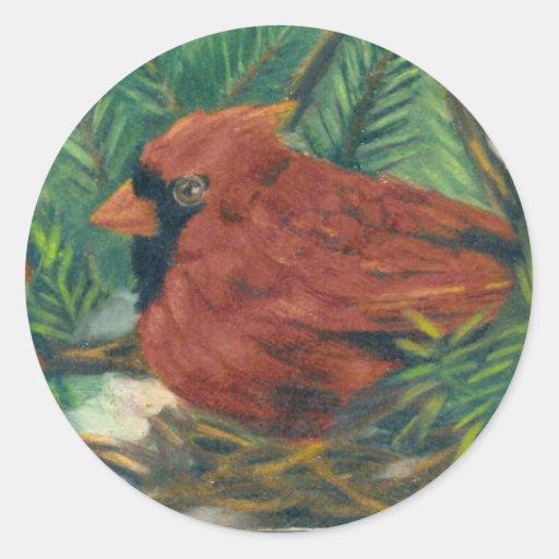 Cardenal del invierno pegatina redonda