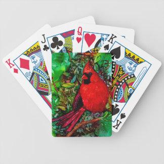 Cardenal en el árbol barajas de cartas