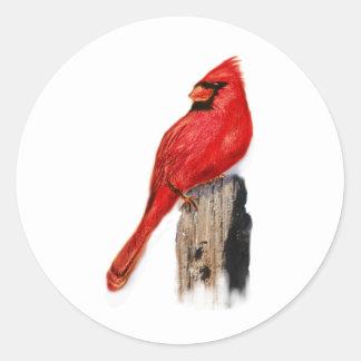 Cardenal en el poste pegatina redonda