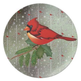 Cardenal en la placa de la nieve platos de comidas