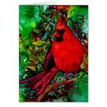 Cardenal en la tarjeta del árbol