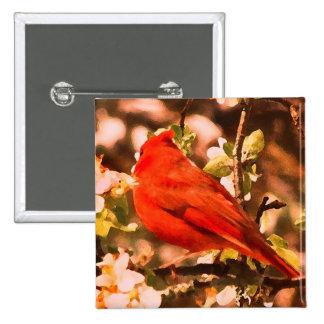 Cardenal en los flores de Apple Pin Cuadrada 5 Cm