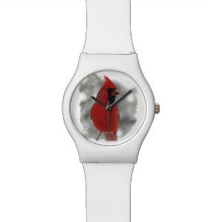 Cardenal en nieve reloj de mano