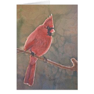 Cardenal en tarjeta de nota del contraluz