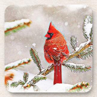 Cardenal en un árbol de pino en invierno posavasos