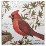cardenal moderno del invierno del vintage servilletas de papel