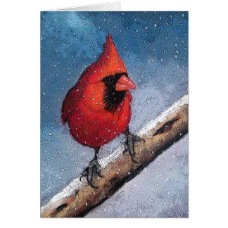 Cardenal rojo brillante en nieve: Arte en colores  Tarjeta De Felicitación