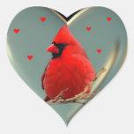 Cardenal rojo brillante hermoso, pegatina de A al