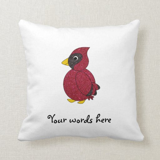Cardenal rojo del brillo almohada