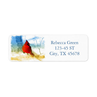 cardenal rojo del navidad del vintage etiquetas de remite