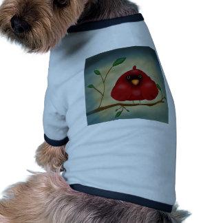 Cardenal rojo del pájaro camisetas de perro