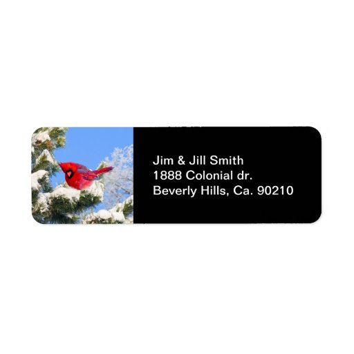 Cardenal rojo dulce en árbol nevado etiquetas de remite