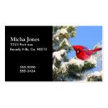Cardenal rojo dulce en árbol nevado tarjeta de negocio