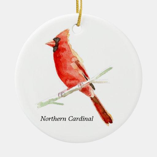 Cardenal septentrional adorno redondo de cerámica