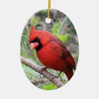 Cardenal septentrional -- Pájaro tradicional del Adorno Navideño Ovalado De Cerámica