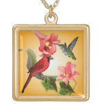Cardenal y colibrí con los lirios y la hiedra rosa colgante cuadrado