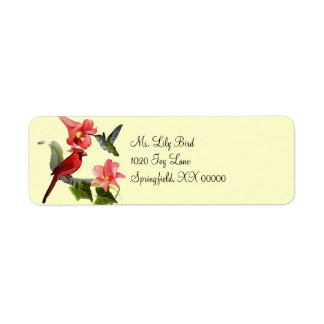Cardenal y colibrí con los lirios y la hiedra rosa etiqueta de remite
