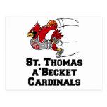Cardenales con la fuente atlética postales