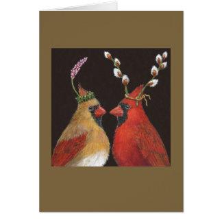 Cardenales de la primavera tarjeta de felicitación