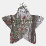 Cardenales del invierno calcomanía cuadrada personalizada