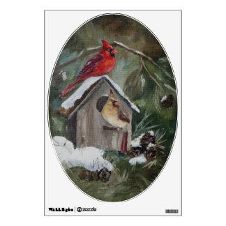 Cardenales en el Birdhouse Nevado