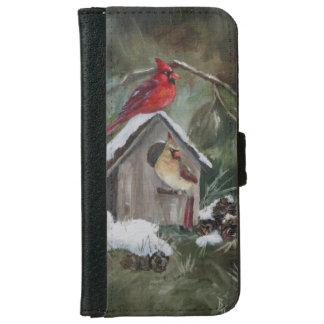 Cardenales en el Birdhouse Nevado Carcasa De iPhone 6