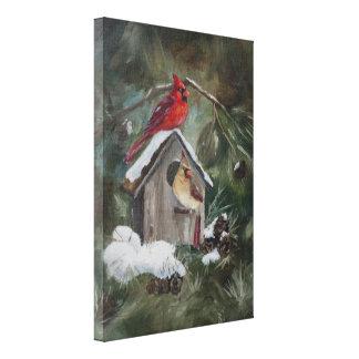 Cardenales en el Birdhouse Nevado Impresiones En Lona
