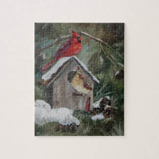 Cardenales en el Birdhouse Nevado Puzzles Con Fotos