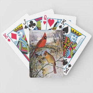 Cardenales en invierno barajas de cartas