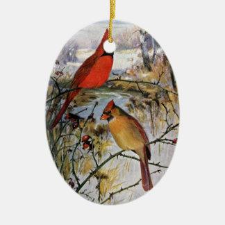 Cardenales en invierno adornos de navidad