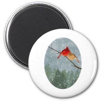 cardenales en invierno imanes para frigoríficos