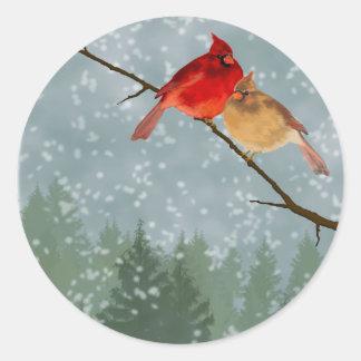 cardenales en invierno pegatina redonda