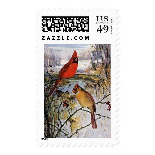 Cardenales en invierno sellos