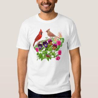 Cardenales en la camiseta del jardín poleras