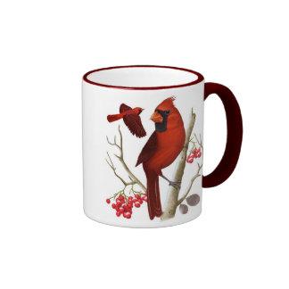 """""""Cardenales en"""" la taza de café salvaje del pájaro"""