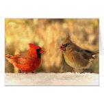 Cardenales en tarjetas de felicitación del otoño