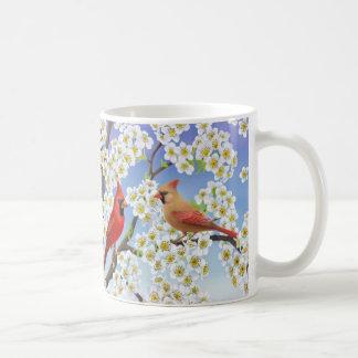 Cardenales en taza floreciente del árbol de la