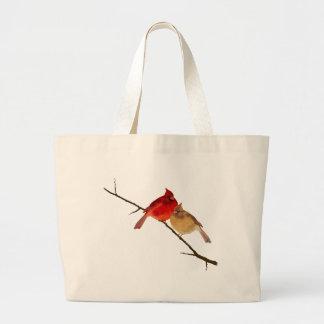 cardenales en una rama bolsa tela grande