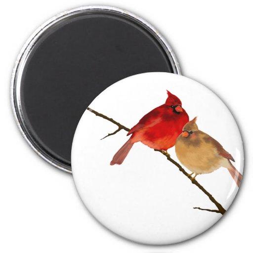 cardenales en una rama imán de nevera