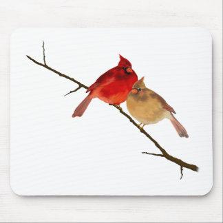 cardenales en una rama tapetes de ratón