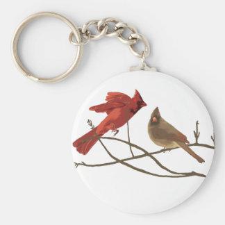 Cardenales rojos festivos llavero personalizado