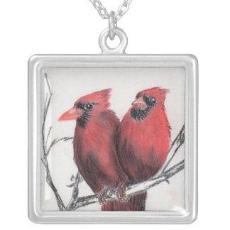 Cardenales rojos - mano dibujada colgante cuadrado