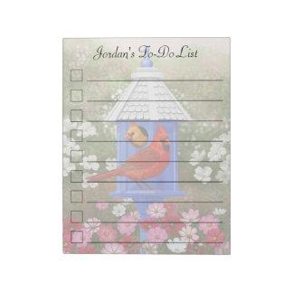 Cardenales y Birdhouse azul Bloc De Papel