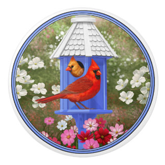 Cardenales y Birdhouse azul Pomo De Cerámica
