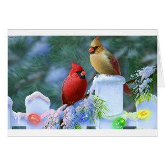 Cardenales y luces de navidad tarjeta de felicitación