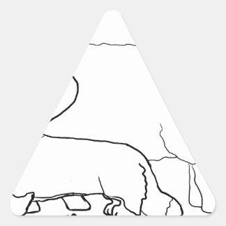 Cardi con una situación de las ovejas pegatina triangular